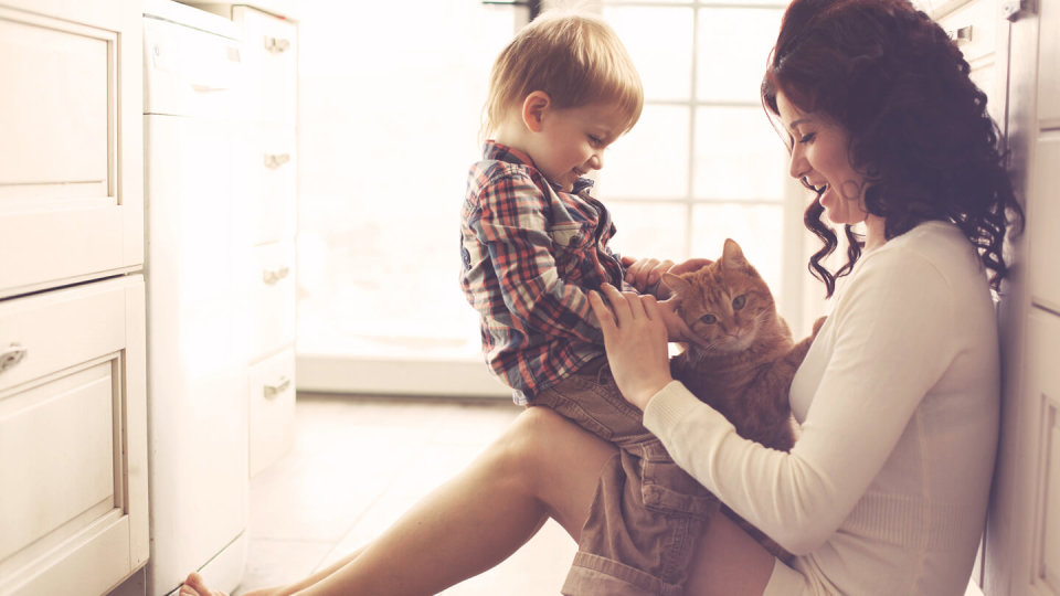 Mother and child playing with cat indoors