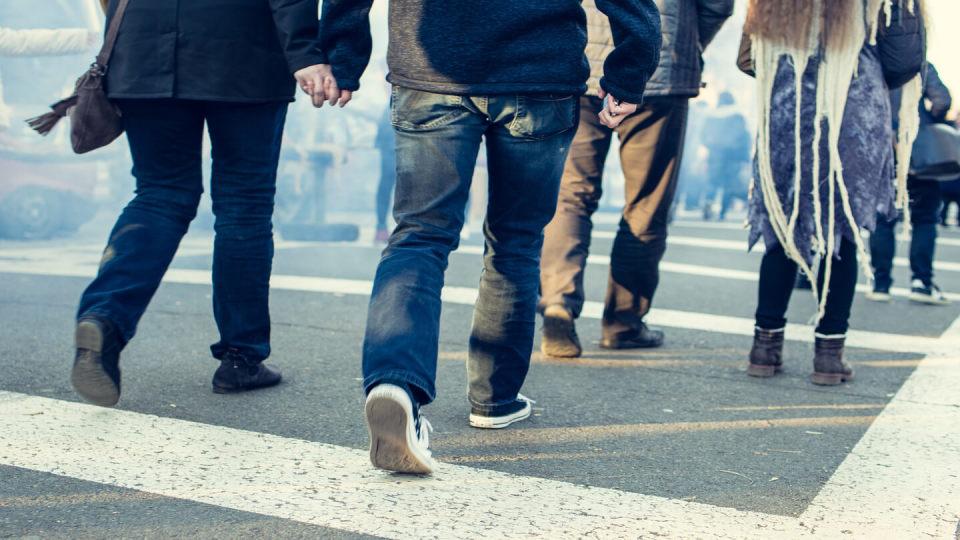 People walking on a road