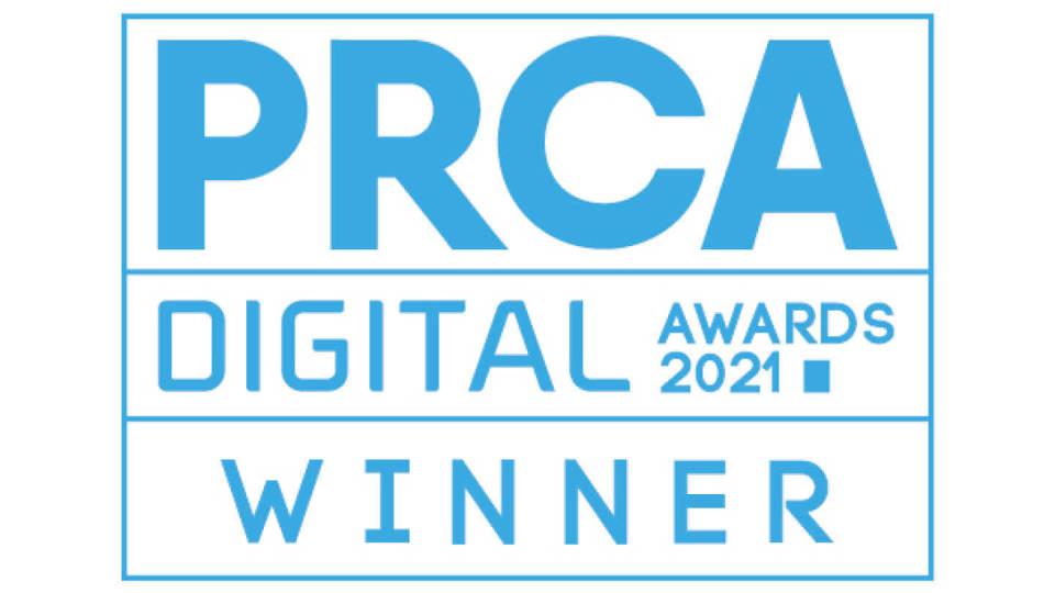 Winner logo for the PRCA Digital Awards 2021